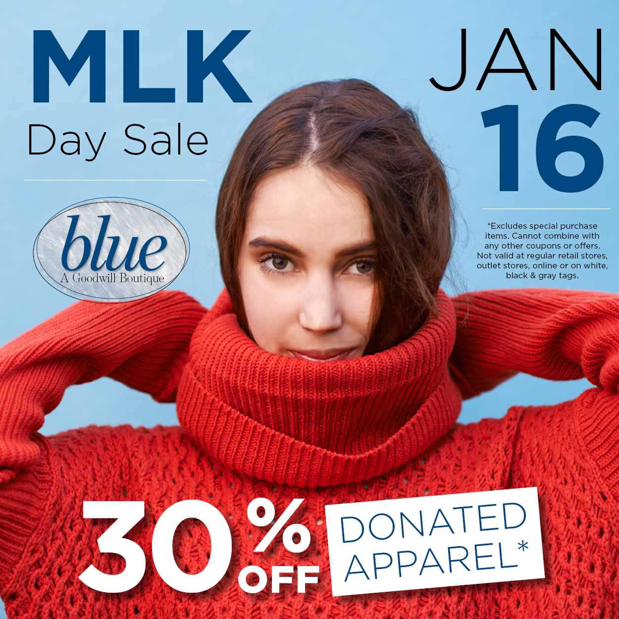MLK Day Sale at blue boutiques 30% off donated apparel